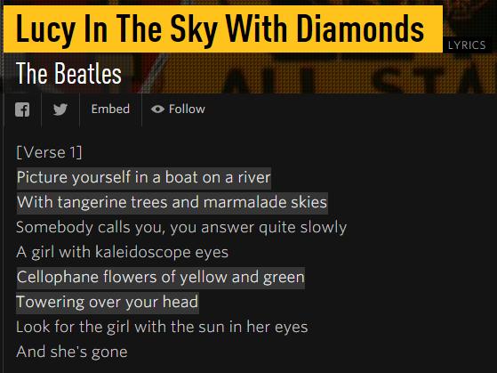 lucy in the sky genius